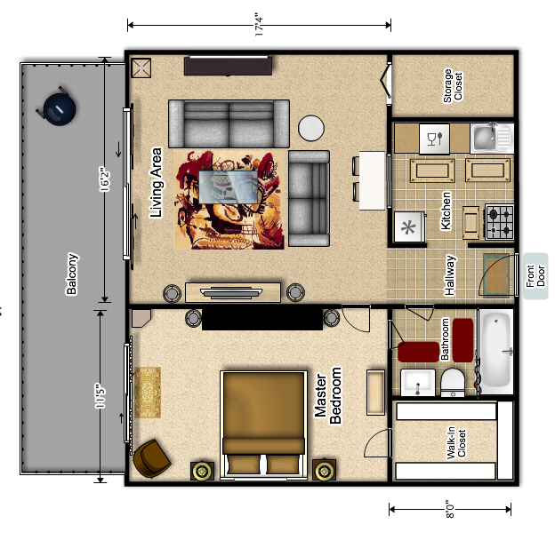 Large One Bed/ One Bath at Riverview East